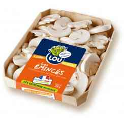Champignons émincés 200G - LOU make consumption of fresh mushrooms much more easy by proposing a range of 3 products already sliced, ready to cook ! Our mushrooms are pesticides free, 100% natural, cut by hand by the picker directly inside the punnet, touch by only one person, the best quality ever ! 3 varieties available.