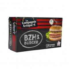 BZH Burger 2x140g - Frozen burger from Brittany. Soft bread with buckwheat, onion chutney, Charolais beef and bacon. Two 140g servings. Ready in 1 minute 40 in the microwave oven.
