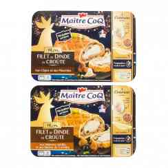 Mon filet de dinde en croûte - Kit for turkey fillet in crust for festive recipes. Contains a marinated turkey fillet, stuffing and all-butter puff pastry. Preparation in 10 minutes. Baked in 1 hour. For 4 people.<br /> <br><br>Selected for offer of turkey fillet-in-crust kit.<br>