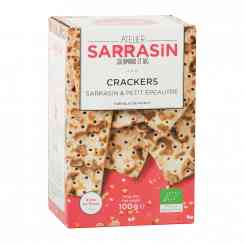 Crackers sarrasin & petit épeautre - Organic buckwheat and einkorn wheat crackers rich in fiber. Made in France. Source of protein. Cardboard packaging in recycled paper. 100% recyclable.<br><br>Selected for the buckwheat-based cracker offer.<br>