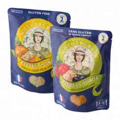 Quinola express wholegrain - Whole quinoa meal in microwaveable pouch. Gluten-free. Vegan. Source of protein, fiber and magnesium. Quinoa grown in France. Ready in 2 minutes.<br><br>Selected for the recipe made with quinoa of French origin (Anjou).<br>