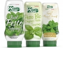Our new topping line includes classic pesto, organic pesto & basil cream. It is the first fresh pesto, not pasteurized in the world, long shelf life at room temperature in the new top down packaging. Perfect to dress salads sandwiches, pizzas, wraps decorating your dishes adding the taste of italy. - Our new topping line includes classic pesto, organic pesto & basil cream. It is the first fresh pesto, not pasteurized in the world, long shelf life at room temperature in the new top down packaging. Perfect to dress salads sandwiches, pizzas, wraps decorating your dishes adding the taste of italy.
