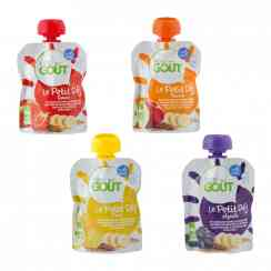 Le petit déj - Organic puree of fruits, seeds and oils in drink pouch for baby's breakfast. Contains at least 48% banana puree, lemon juice, flaxseed and sesame seed flour and a blend of 7 oils. European and AB certification.<br><br>Selected for the proposal of a breakfast pouch for baby made with fruits and superseeds (flax, sesame).<br>