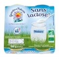 Spécialité nature délactosée bio - Lactose-free organic dairy specialty, in glass pots. AB and European certification. 100% French milk. Less than 0.1% lactose.<br><br>Selected for the organic lactose-free offer.<br>