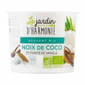 "Dessert bio noix de coco et pointe de vanille 120g - Organic dessert with coconut milk. Soy free. Lactose and gluten free.<br><br>Selected for the plant ""milk"" organic dessert alternative.<br>"