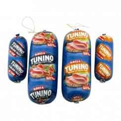 Tunino - Sausage-shaped tuna specialty. For sandwiches, pasta, salads, etc. Made with tuna fillets.<br><br>Selected for the offer of sausage-shaped tuna to slice.<br>