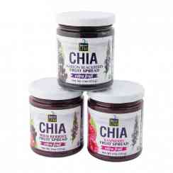 Extra fruit raspberry fruit spread - Pectin-free natural fruit jam with chia. Using chia instead of pectin. High in Omega 3 and fiber. Gluten-free. No cane sugar. No added pectin or synthetic acids. No preservatives, additives, added colors or flavors. <br><br>Selected for the recipe rich in fruits with chia seeds as a substitute for pectin, for the more natural product, source of Omega 3.<br><br><br>