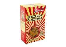 Ginger and turmeric pasta - Gluten-free pasta with turmeric and ginger. Drawn in a bronze mold. For celiacs.<br><br>Selected for the new taste provided by the ingredients (ginger and turmeric).<br>