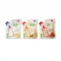 Les Céréales - Organic cereal flour for baby in a reclosable flexible pouch. Stand-up pouch with see-through window. AB and European certification. To eat in a baby bottle or in porridge in a bowl.