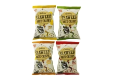 Seaweed rice crisps - Crispy rice and seaweed snacks with no trans fat and cholesterol. Gluten-free.<br><br>Selected for the natural positioning and seaweed composition.<br>