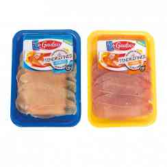 Les tendrefines - gamme de découpes ultrafines de poulet ou de dinde - Quick-to-cook poultry fillet in ultra-thin slices. 6 tender slices. Ready in 1 minute 30. Poultry born, raised and prepared in France.<br><br>Selected for the ultra-thin slices preparation for fast cooking and multiple culinary uses.<br>