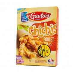 Chichis de poulet - Breaded cooked chicken churros. No flavour enhancer. No palm oil. Poultry born, raised and prepared in France. 8 servings.