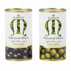 Cardamom olives / green & black olives with natural green cardamom - Olives with fresh green cardamom. Spanish whole olives. In a tin with peel-off lid.<br><br>Selected for the recipe of canned olives with fresh cardamom.<br>