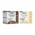 Mon 1er dessert sans lait - Instant milk-free dessert for babies. No lactose or gluten. Made with hydrolyzed rice protein. From 6 months. Pour 90ml of water in a bowl, add the preparation, stir and wait for 3 minutes before serving. 12 pouches. Sold in pharmacies.
