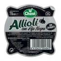 Aïoli à l'ail noir mortier 70 ml - Aioli sauce with black garlic. Fresh product. Gluten-free. Colorant-free.<br><br>Selected for the original use of black garlic. <br>