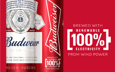 Le AB InBev Group signed a contract at the beginning  of 2020 to produce all Bud beers with renewable electricity.